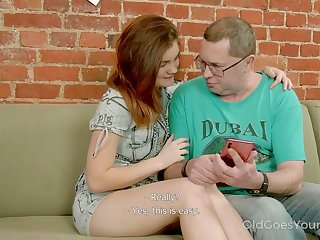 Filthy red haired stepdaughter seduces her step daddy and fucks his on a couch