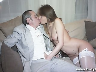 Horny businessman fucks juicy pussy of hot young courtesan Aubrey