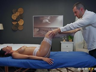 oiled and wet cunt of Katana Kombat is everything her masseur wants to touch