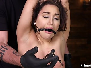 Nipples clamped and snatch vibed sub