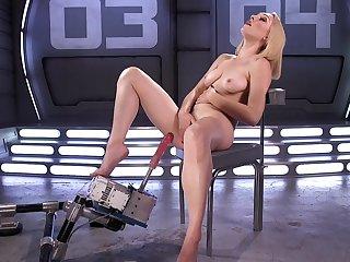 Gorgeous woman reveals her premium skills on the fuck machine
