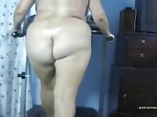 My wife likes to do a naked treadmill workout without of with our presence.