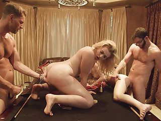 Two buddies having a group sex with two hot girls after a pool game