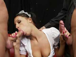Close up video with natural tits wife on her knees having a 3-way