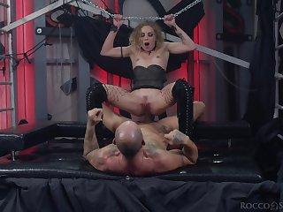 Slave girl rides the big stick until it cums inside her