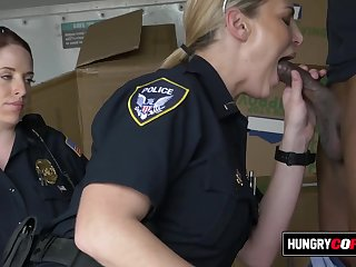 Raunchy mommy cops sucks on suspects dick